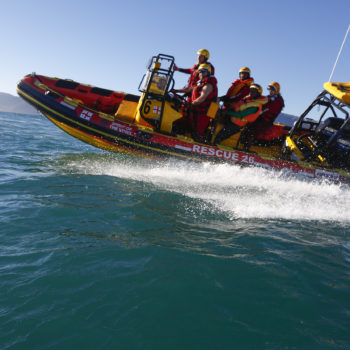 National Sea Rescue Institute (NSRI) personel and Waves For Change coaches simulate a rescue during a training session in Kommetjie, Cape Town, South Africa 23 July 2017. The NSRI is a non-profit organisation run by over 1000 highly skilled unpaid volunteers who are on standby day and night throughout the year along South Africa's coastline. This training day was aimed at educating the coaches from the Waves For Change surf therapy programme involved with the Rebel Sessions 2017 surf event.